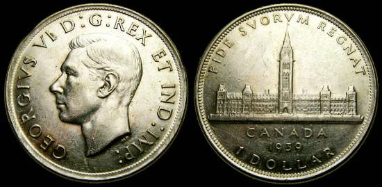 1939 Silver Dollar Royal Visit Parliament Building