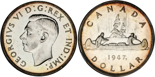 1947 Silver Dollar Canada Maple Leaf